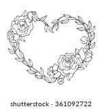 vector hand drawn rose wreath...