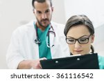 medical team workers examining... | Shutterstock . vector #361116542