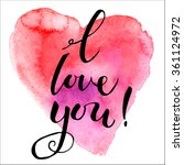 valentines day calligraphy on... | Shutterstock .eps vector #361124972