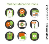 set of flat icons of e learning ... | Shutterstock .eps vector #361130015