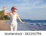 little girl  dancing on the... | Shutterstock . vector #361141796