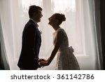 happy newlyweds laugh indoor.... | Shutterstock . vector #361142786