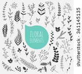 floral elements. hand drawn... | Shutterstock .eps vector #361145135