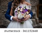 handsome groom hugging... | Shutterstock . vector #361152668