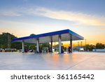 gas station at sunset. | Shutterstock . vector #361165442