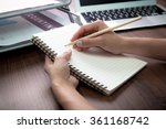 handwriting  hand writes with a ... | Shutterstock . vector #361168742