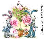 Cute Bunny Watercolor...
