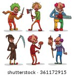 Vector set of images of evil clowns with a different hair color in colored clothes with different cold weapons in the hands on a light background. In the theme of Halloween. Vector illustration.
