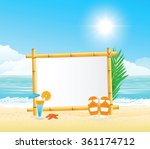wooden signboard on tropical... | Shutterstock .eps vector #361174712