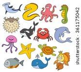 sea life  underwater animals... | Shutterstock .eps vector #361175042