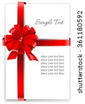 greeting card with a red ribbon.... | Shutterstock .eps vector #361180592