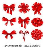 big collection of red gift bows ... | Shutterstock .eps vector #361180598
