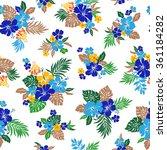 hibiscus flower pattern | Shutterstock .eps vector #361184282