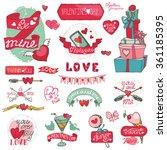 valentines day design labels... | Shutterstock .eps vector #361185395