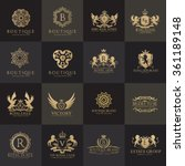 luxury logo set with heraldic... | Shutterstock .eps vector #361189148
