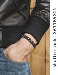 closeup leather bracelet on man'... | Shutterstock . vector #361189355