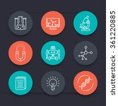 science round line icons ... | Shutterstock .eps vector #361220885