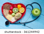 food on heart plate with... | Shutterstock . vector #361244942