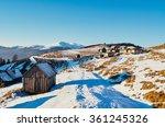 old shepherd cabins in snowy...