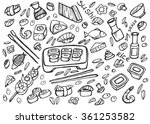 japanese food   sushi doodle... | Shutterstock .eps vector #361253582