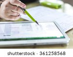 accounting on a tablet computer ... | Shutterstock . vector #361258568