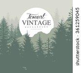 Vintage Pine Forest Hand Drawn...