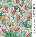 cartoon colorful city. vector... | Shutterstock .eps vector #361263722