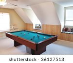 a pool table in a bonus room in ... | Shutterstock . vector #36127513