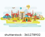 india colorful detailed skyline.... | Shutterstock .eps vector #361278932