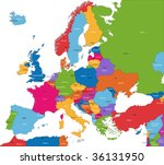 colorful europe map with... | Shutterstock .eps vector #36131950