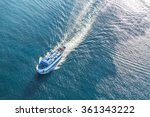 Ferry Boat On Sea Aerial View