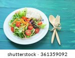 fresh salad with chicken breast ... | Shutterstock . vector #361359092