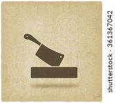 butcher knife in chopping board ... | Shutterstock .eps vector #361367042