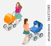 Mother Pushing A Baby Stroller...
