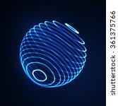3d illuminated sphere of... | Shutterstock .eps vector #361375766