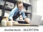 craftsman artist pottery skill... | Shutterstock . vector #361397396