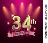 34th anniversary  party poster  ... | Shutterstock .eps vector #361399988