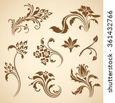 vector set of floral decorative ... | Shutterstock .eps vector #361432766