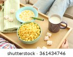 a girl with a tray having lunch ... | Shutterstock . vector #361434746