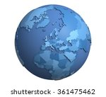 political globe with blue ... | Shutterstock . vector #361475462