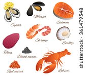 sea food fish mussel shrimp...   Shutterstock .eps vector #361479548