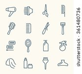 hairdressing line icon set | Shutterstock .eps vector #361480736