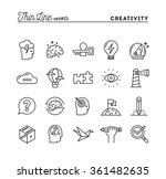 Stock vector creativity imagination problem solving mind power and more thin line icons set vector 361482635