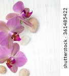 orchids and massage stones on a ... | Shutterstock . vector #361485422