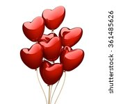 red heart balloons isolated on... | Shutterstock . vector #361485626