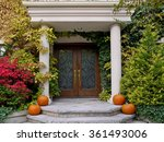 House Front Door With Portico...