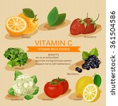 vitamins and minerals foods... | Shutterstock .eps vector #361504586