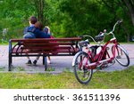 couple in love sitting together ... | Shutterstock . vector #361511396