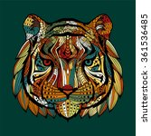 patterned tiger head on a green ... | Shutterstock .eps vector #361536485