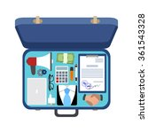 open the suitcase of a... | Shutterstock .eps vector #361543328